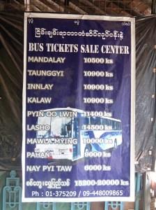 precios bus Myanmar